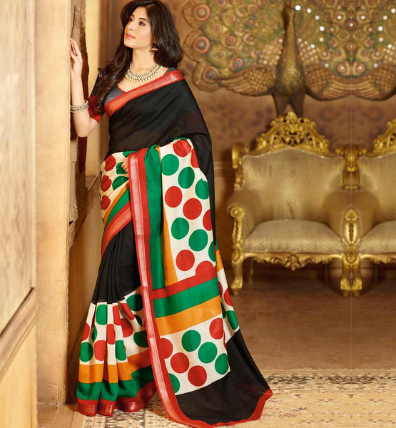 BLACK ART-SILK CASUAL WEAR SAREE RTMS10949