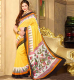 YELLOW ART-SILK CASUAL WEAR ESHA DEOL SAREE RTMS10952