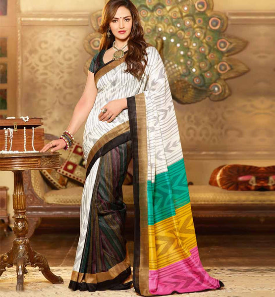 STUNNING ART-SILK CASUAL WEAR ESHA DEOL SAREE RTMS10954
