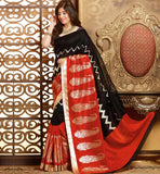 BLACK & MAROON ART-SILK CASUAL WEAR SAREE RTMS10955