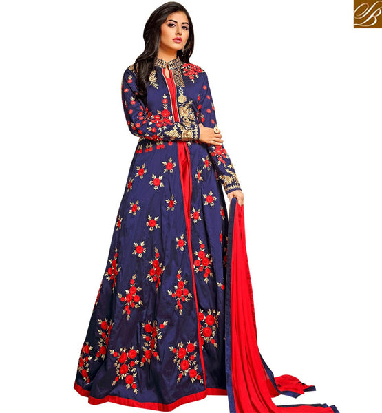 STYLISH BAZAAR AWESOME BLUE COLORED ANARKALI STYLE SUIT WITH FLORAL WORK VDTWI10956