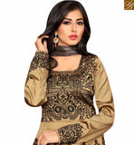 STYLISH BAZAAR PRESENTATION VIBRANT BEIGE COLORED ANARKALI STYLE DESIGNER SUIT. VDTWI10958