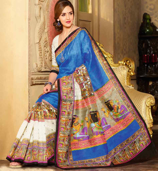 BLUE ART-SILK CASUAL WEAR ESHA DEOL SAREE RTMS10958
