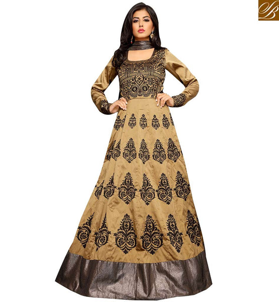 STYLISH BAZAAR VIBRANT BEIGE COLORED ANARKALI STYLE DESIGNER SUIT. VDTWI10958