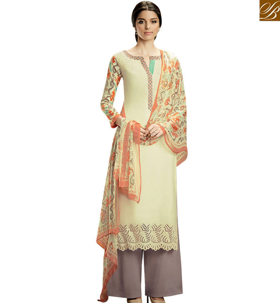 STYLISH BAZAAR ADORABLE CREAM COLOR COTTON PLAZZO WITH MULTI COLOR PRINTED DUPATTA KMV109
