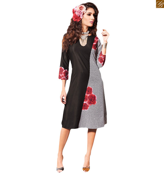 GORGEOUS BLACK FLORAL DESIGN KURTI RTVIN109