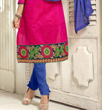 DARK PINK CASUAL WEAR CHANDERI COTTON SALWAR KAMEEZ WITH BLUE DUPATTA VDANT7010