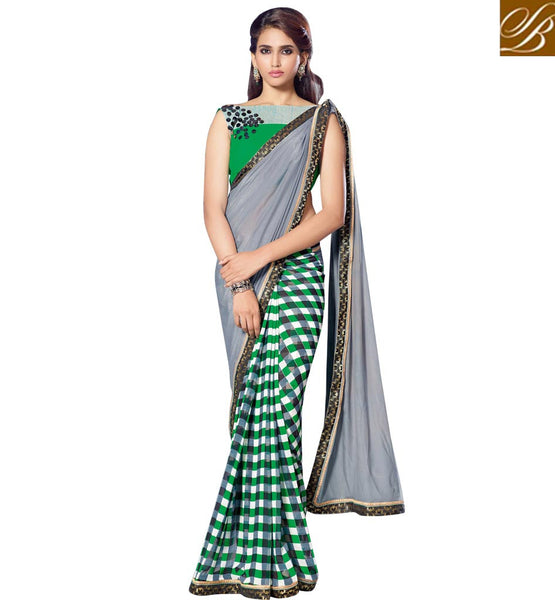 STYLISH CASUAL SAREES ONLINE SHOPPING IN INDIA TRENDY GEORGETTE  SARI WITH CHEQUERED  PRINT AND PLAIN COMBINATION