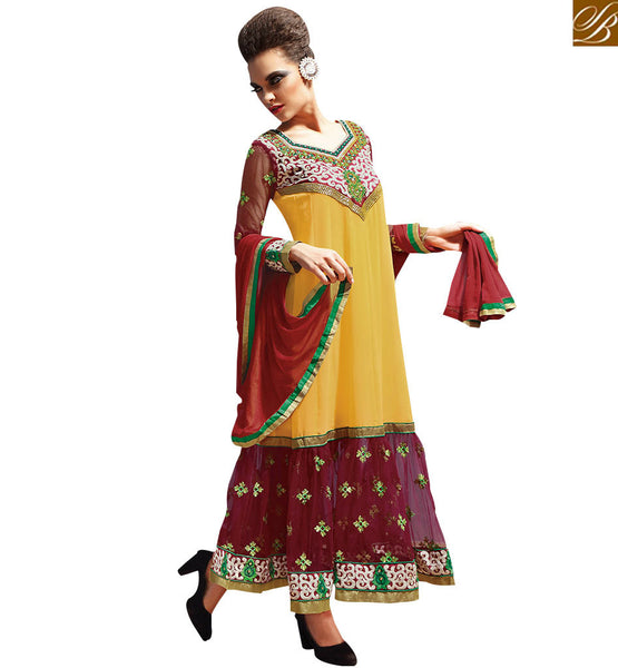 BEWITCHING YELLOW & MAROON PARTY WEAR ANARKALI DRESS RTASM10