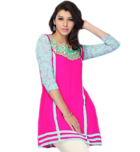 KURTI TO WEAR WITH JEANS SHORT LENGTH DESIGNER INDIAN TUNIC TOP