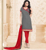 Printed Chanderi Kurti with Churidar Salwar