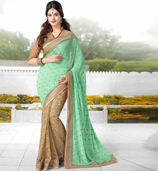 DESIGNER OCCASION WEAR SAREE WITH SEQUIN FROM STYLISH BAZAAR GREEN CHIKOO GEORGETTE NET