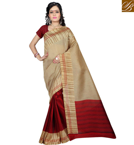 A STYLISH BAZAAR PRESENTATION CREAM AND RED COMBINATION DESIGNER SAREE RTVAN10