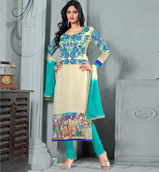 OUTSTANDING OFF WHITE & SKY BLUE PARTY WEAR SALWAR SUIT WITH DUPATTA VDCND1010