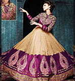 LATEST DESIGNER CHIKOO & PURPLE GOWN STYLE SALWAR KAMEEZ WITH DUPATTA