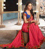 PINK PARTY WEAR SAREES ONLINE SHOPPING IN INDIA WITH BLOUSE STYLISH BAZAAR