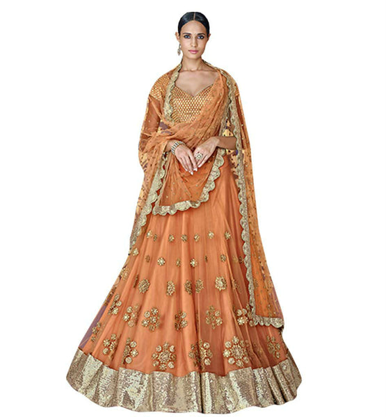BROUGHT TO YOU HOUSE OF LATEST ORANGE HEAVILY EMBROIDERED LEHENGA CHOLI DESIGN NKGR5049