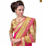 FROM STYLISH BAZAAR SPLENDID CREAM AND PINK SAREE WITH BEIGE BLOUSE RTMAG11