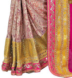FROM THE HOUSE  OF STYLISH BAZAAR SPLENDID CREAM AND PINK SAREE WITH BEIGE BLOUSE RTMAG11