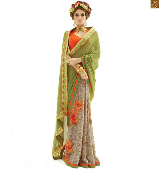 Half saree latest designs combination with indian blouse designs green and chikoo georgette half and half casual saree with orange designer art silk blouse