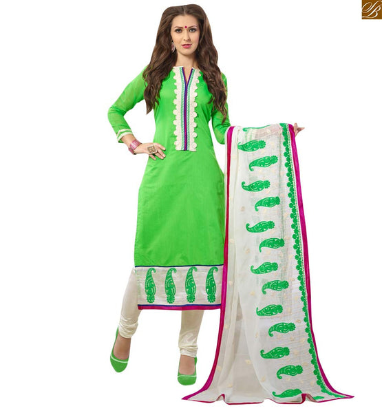Parrot green straight salwar kameez for casual wear parrot-green chanderi straight cut neck design salwar kameez with off-white floral embroidery patch work at neck side Image