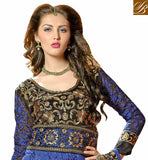 BEWITCHING BLUE AND BLACK DESIGNER NET FUSION DRESS
