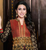 BEAUTIFUL ACTRESS KARISHMA KAPOOR DESIGNER GEORGETTE DRESS	 BLACK COLOR TOP COMES WITH MATCHING SANTOON SALWAR AND NAZNEEN DUPATTA