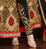 BLACK COLOR TOP COMES WITH MATCHING SANTOON SALWAR AND NAZNEEN DUPATTA BOLLYWOOD COSTUME FOR WEDDINGS ONLINE SHOPPING VDKRS11001A