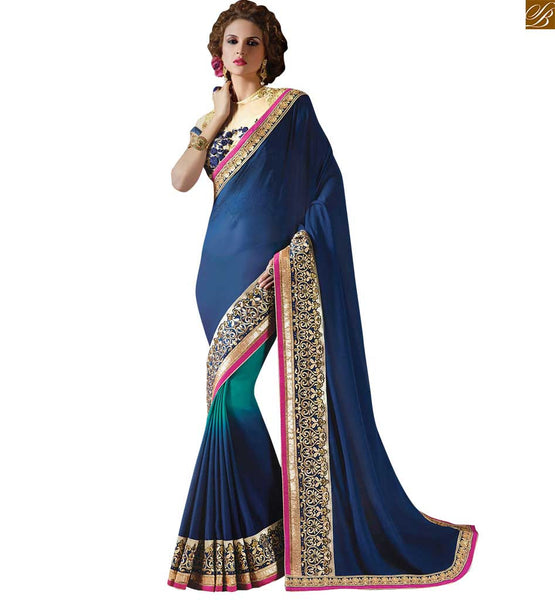 STYLISH BAZAAR  BEAUTIFUL BLUE AND CREAM BLUE COMBINED SAREE WITH CREAM BLOUSE RTAJI11001