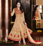 SHOP ONLINE PARTY WEAR BOLLYWOOD CLOTHES INDIAN CELEB KARISHMA KAPUR STYLISH GEORGETTE DRESS EYE-CATCHING BEIGE CUT STYLE EMBROIDERED SANTOON SHADED NAZNEN ODNI