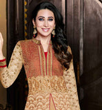 INDIAN MOVIE CELEB KARISHMA KAPUR STYLISH GEORGETTE DRESS EYE-CATCHING BEIGE CUT STYLE ANARKALI  WITH EMBROIDERED SANTOON SALWAR AND SHADED NAZNEEN ODHNI