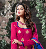 PINK COTTON KAMEEZ WITH BLUE SALWAR AND PRINTED DUPATTA
