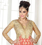 SUPER NET AND BROCADE ZARI AND STONE WORK DRESS WITH DUPATTA