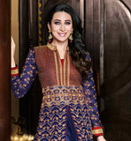 STUNNING DIVA KARISHMA KAPOOR AWESOME CUT STYLE ANARKALI  WONDERFUL  BLUE RICHLY EMBELLISHED GEORGETTE TOP COMES WITH DESIGNER SHANTOON SHALWAR AND DUAL COLOR DUPATTA