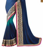 FROM STYLISH BAZAAR BEAUTIFUL BLUE AND CREAM BLUE COMBINED SAREE WITH CREAM BLOUSE RTAJI11001