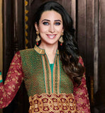 GORGEOUS AND GLAMOROUS KARISHMA KAPOOR MODELLED DRESS WIN HEARTS BY WEARING THIS OUT-STANDING MOVIE STYLE MAROON GEORGETTE SUIT WITH SAME COLOR SANTOON SALWAR AND TWO TONE ODHNI