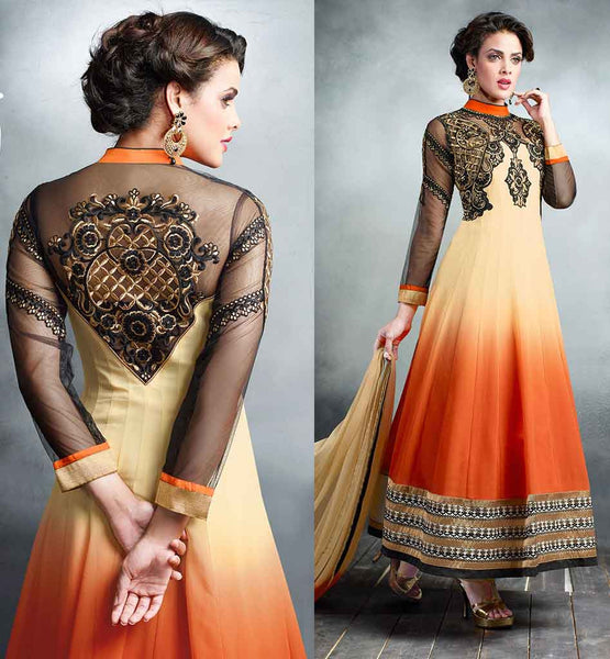 BUY EVER STYLISH INDIAN SALWAR KAMEEZ ONLINE  DESIGNER SALWAR KAMEEZ SUIT IN RESHAM EMBROIDERY IN COLLAR