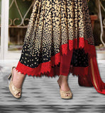 COMBINATIONOF BLACK AND BEIGE PRINTED GEORGETTE KAMEEZ WITH RED SALWAR AND NAZNEEN ODHNI  HEENA KHAN CELEBRITY SALWARS BOLLYWOOD STYLE DRESS UP