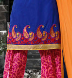embroidered kameez with printed salwar and dupatta