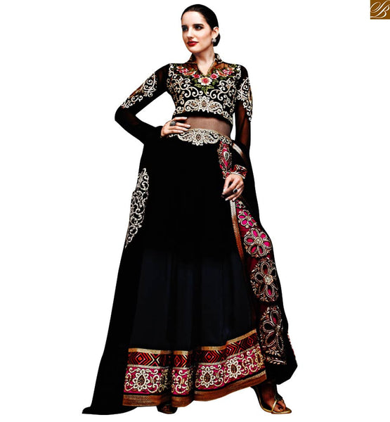 DESIGNER BLACK STYLISH BAZAAR LONG ANARKALI DRESS FOR PARTY WEAR FROM ZOYA SAPPHIRE BY STYLISH BAZAAR 11002