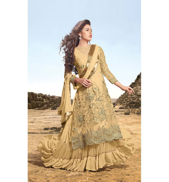 SUPERB CREAM DESIGNER LEHENGA STYLE SUIT RTSN11002 - stylishbazaar - Indian wedding Lehenga Choli, Wedding Lehenga Choli Online, Lehenga Choli for Wedding, online wedding Lehenga Choli, online shopping for wedding Lehenga Choli, indian wedding clothing, embroidered wedding Lehenga Choli