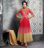 EMBROIDERED JACKET STYLE SALWAR KAMEEZ FOR WOMEN  PERFECT PINK COLOR IN ZARI RESHAM EMBROIDERY WORK OVER THE NECK