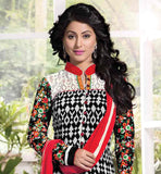 DESIGNER PARTY WEAR SALWAR KAMEEZ 2015 TRENDS  BLACK AND OFFWHITE PRINTED STRAIGHT CUT KAMEEZ WITH CONTRAST SALWAR AND DUPATTA