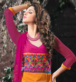 ORANGE STRAIGHT KAMEEZ WITH PINK SALWAR AND SHADED DUAPTTA