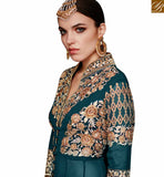 FROM PLEASING FAUX GEORGETTE DESIGNER SUIT WITH HEAVY EMBROIDERED SLIT CUT STYLE SLAR11003