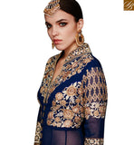 FROM STYLISH BAZAAR PLEASING FAUX GEORGETTE DESIGNER SUIT WITH HEAVY EMBROIDERED SLIT CUT STYLE SLAR11003B
