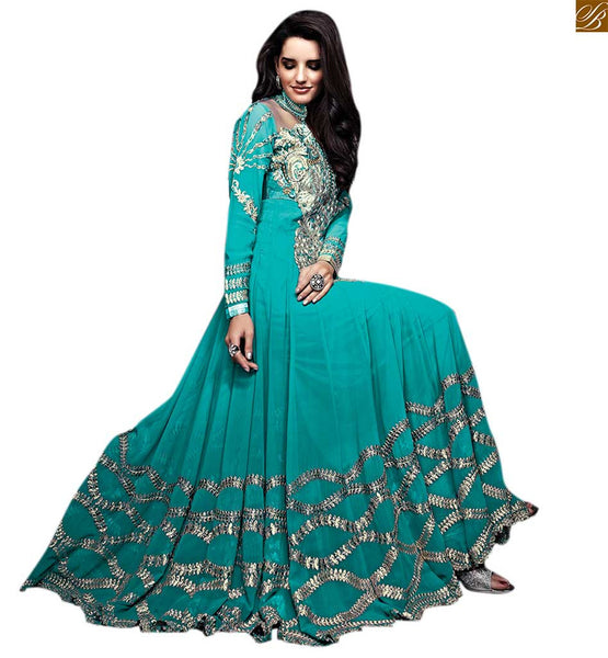 Indian Long Anarkali Sui Bollywood Celebrity Style Dresses Latest collection of celebrity style Blue and black Georgette Anarkali dresses with new look for women