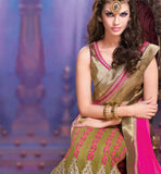 LOVELY CREAM & PINK WEDDING WEAR SAREE RTALP11003