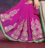 BEAUTIFUL CREAM & PINK PARTY WEAR SAREE RTALP11004
