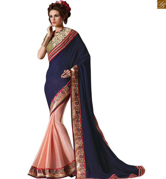 BROUGHT TO YOU BY STYLISH BAZAAR FASCINATING BLUE AND PEACH COLOURED SAREE WITH BLUE AND PEACH RTAJI1105